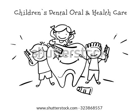Children`s Dental Oral and Health Care. Kids Health. Graphics sketch in vector.