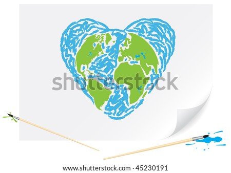 Children's drawing a green earth heart a brush paints on a paper - stock vector