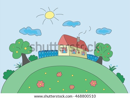 Children's drawing a vacation home. Vector illustration for your design
