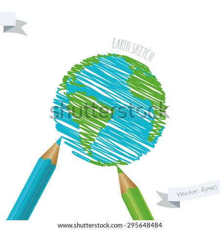 Children's drawing of the planet Earth. Blue and green pencils. Earth day. - stock vector