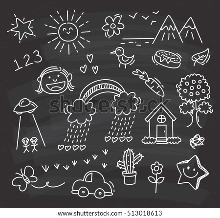children's drawing on chalkboard background