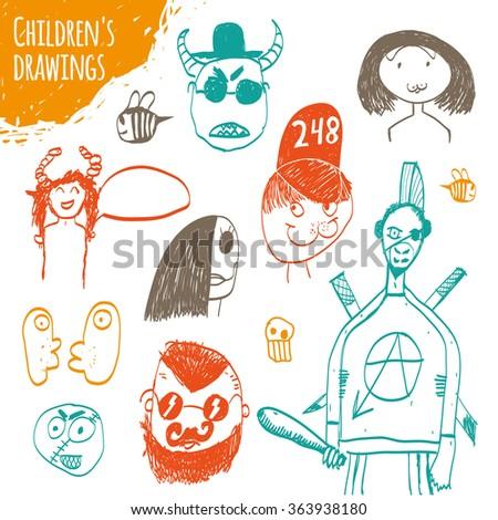 Children's drawings. Children's drawings, handmade, vector. - stock vector