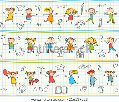 Children's drawings in the school notebook. Seamless ornamental pattern for kids - stock vector