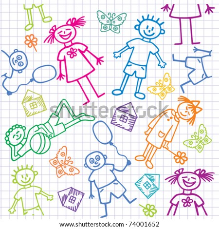 Children's drawings. Seamless vector background. - stock vector