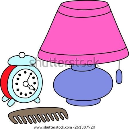 Childrens drawings table lamp clock comb stock vector 261387920 childrens drawings table lamp clock comb aloadofball Image collections