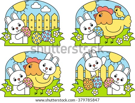 children's easter card, vector illustration