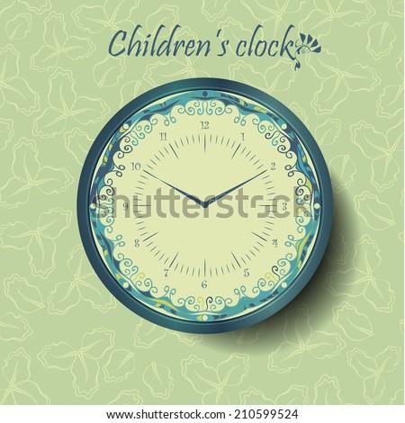 Children's fabulous watch template.Alarm clock.  - stock vector