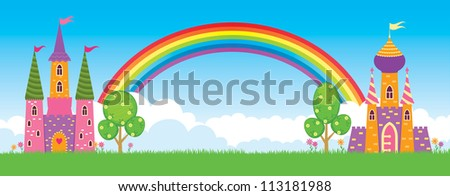 Children's fairy kingdom, vector illustration/ Fairy kingdom - stock vector