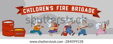 Children's fire brigade - stock vector