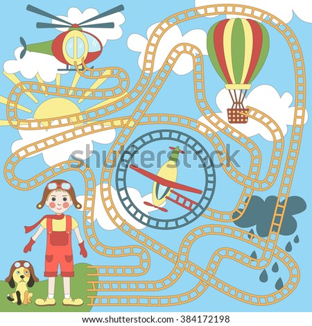 Children's game (maze): boy chooses air transport. Developing game for children. The picture shows: boy, plane, helicopter, air balloon, sky, clouds, dog - stock vector