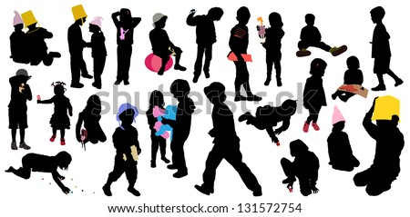 children's game, silhouettes