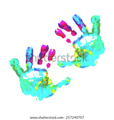children's hands, children's palms, watercolor hand, hand print, kid handprint, kid finger paint , impressionist, kid art, fingerprint, child, finger paint, child art, child fingerprint, coloured hand