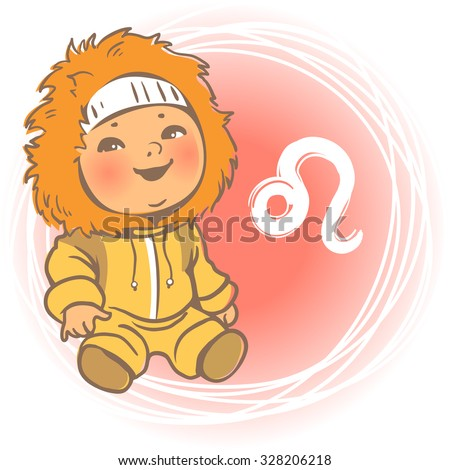 Children's horoscope icon. Kids zodiac. Cute little baby boy or girl as Leo  astrological sign. Colorful vector illustration. Kid in yellow overalls with fur. Astrological symbol as cartoon character. - stock vector