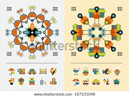 children's icons and infographics - stock vector