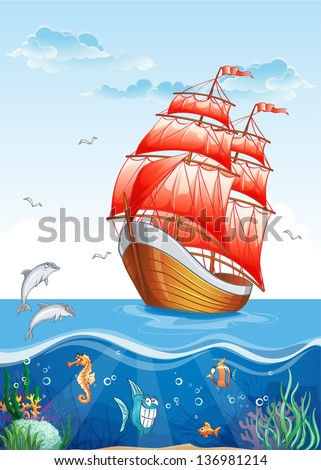 Children's illustration of a sailboat with red sails and the underwater world. - stock vector