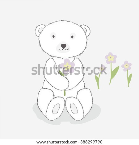 Children's illustration, white teddy bear with flowers. Cartoon style. Gray background