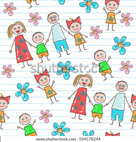 Children's painting (background) - stock vector