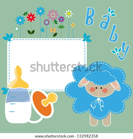 children's pattern with blue  sheep