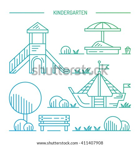 Children's Playground with swings. A place for children play in the yard. Children's Playground drawn in a linear style, vector, outline. Kindergarten outline. Kindergarten yard. Kindergarten