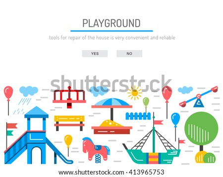 Children's Playground with swings. A place for children play in the yard. Children's Playground drawn in a linear style, vector, outline. Kindergarten Kindergarten yard. Kindergarten. Children park