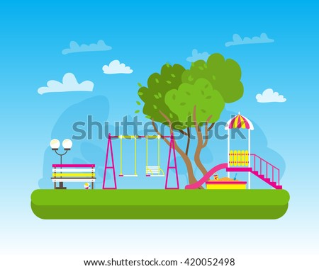 Children's playground with Swings, slide, sandbox, bench, teeter board. Kids playground. School Children's park. Buildings for city construction. Kindergarten Vector flat design illustration - stock vector
