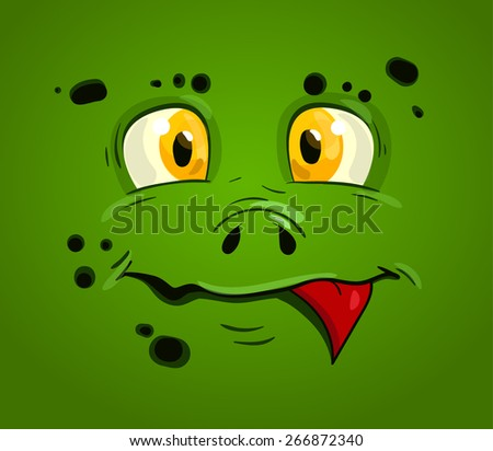 children's print for T-shirts. Illustration for stickers. Cartoon funny monster. Vector cut monster label  - stock vector