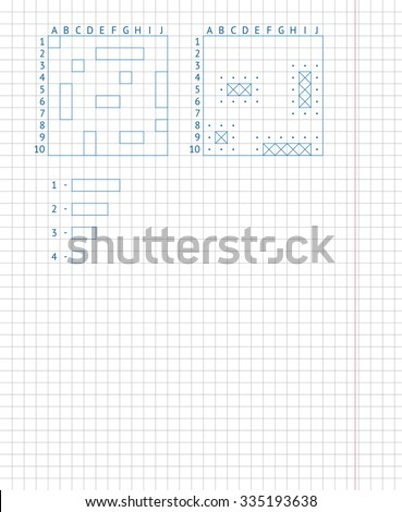 Children's school game sea battle. Drawing on a school notebook sheet. Naval battle board game on paper. - stock vector