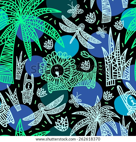 Children's seamless pattern with african animals and plants. Vector hand drawn colorful illustration with lion, rabbits, dragonfly, butterflies, flowers and palms. Black background with blue circles. - stock vector