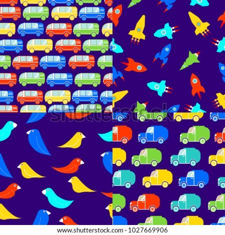 Childrens Seamless Patterns Busesvan Trucks SUV Birds Rockettoy Cars
