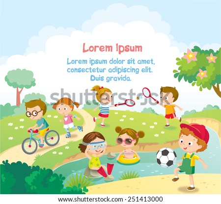 children's summer activities - stock vector