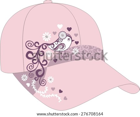 Children's summer pink cap for a little girl with a decor embroidery bird. Baby clothes. Fashion illustration of accessory. Stylish and trendy outfit.  - stock vector