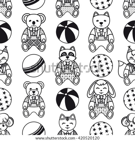 Children's toy. Seamless pattern. Monochrome. Vector illustration.