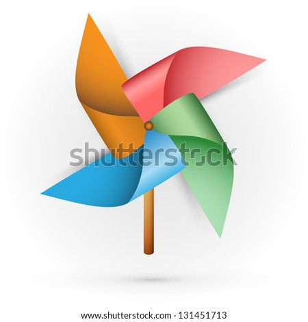 Childrens Toy Windmill Propeller Blades With Multicolored On A White Background