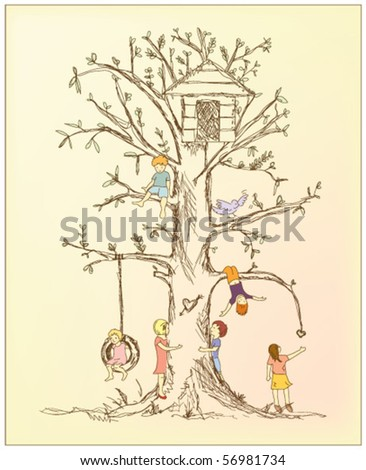 children's tree - stock vector