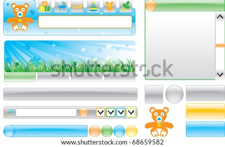 Children`s web site template.Isolated on a white background. Vector illustration (EPS8). All parts (object) closed, possibility to edit. Without transparency - stock vector