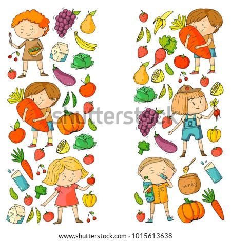Children School And Kindergarten Healthy Food Drinks Kids Cafe Fruits