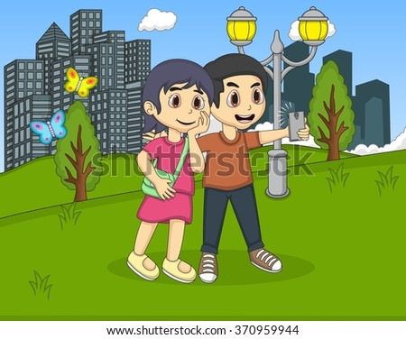 Children self-ie in the park cartoon vector illustration