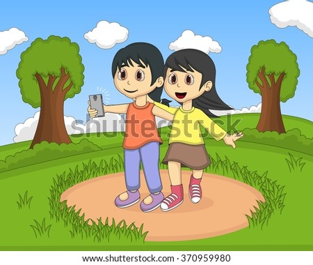 Children self-ie in the park cartoon vector illustration - stock vector