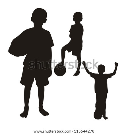 children silhouette isolated over white background. vector - stock vector