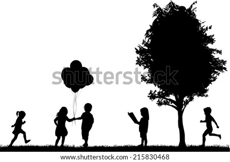 children silhouettes - stock vector