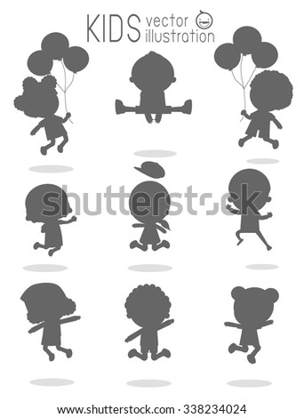 Children silhouettes jumping,  Kids silhouettes jumping on white background, Multi-ethnic children jumping, Kids jumping with joy , happy jumping kids, kids jamp,Vector illustration - stock vector