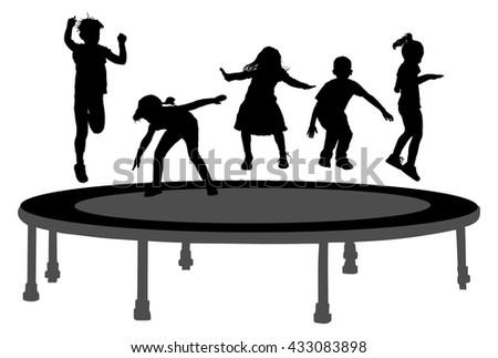 Children Silhouettes Jumping Garden Trampoline Stock
