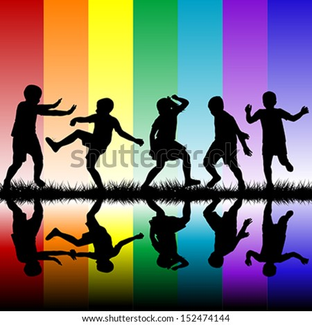 Children silhouettes on rainbow background - stock vector