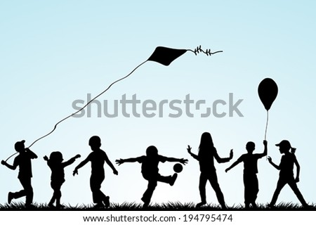 Children silhouettes playing in the park - stock vector