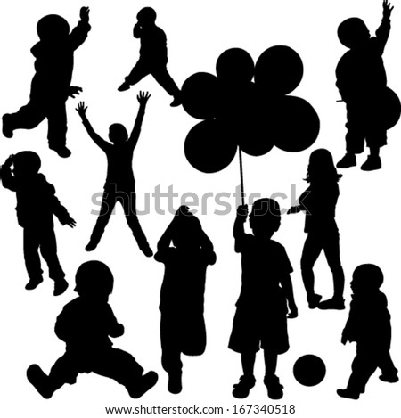 Children silhouettes - vector - stock vector