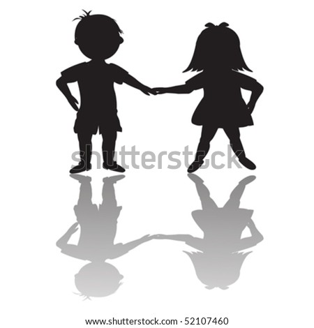 Children silhouettes with shadows - stock vector
