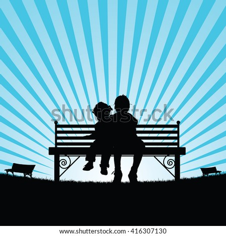 children sitting on bench silhouette illustration in nature - stock vector