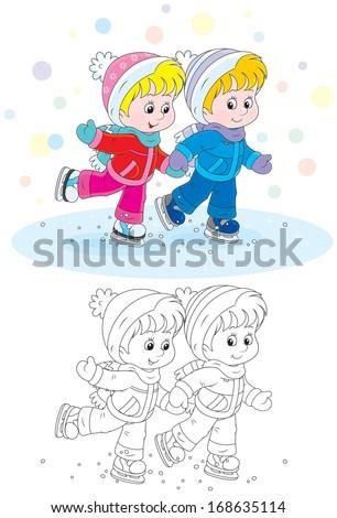 Children skating - stock vector