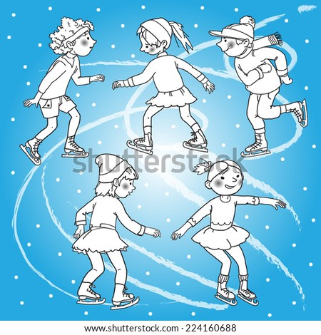 Children skating. Christmas season. Winter activities. Blake outline. Monochrome. Isolated objects on Snow Winter background. Great illustration for school books and more. VECTOR. - stock vector
