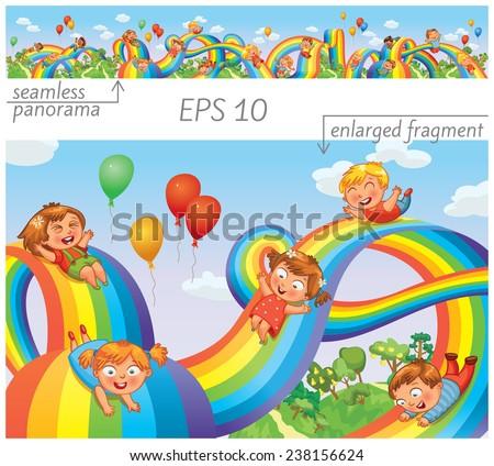 Children slide down on a rainbow. Roller coaster ride. Vector illustration. Seamless panorama - stock vector